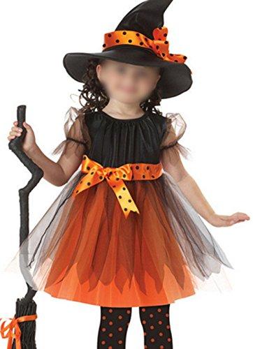 Scothen Mädchen Kinder Hexe Kostüm Zubehör Fairy Halloween Cosplay Partei Abendkleid Mädchen Cosplay Fledermaus Fantasie-Kostüm Fleece-Overall Halloween Kostüm schwarz orange (3-11 Jahre alt)