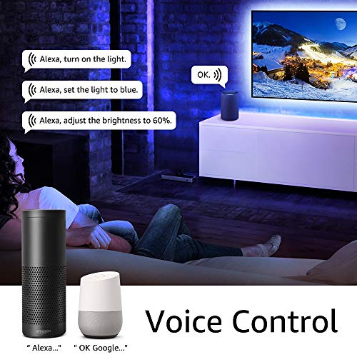 300 LED Kit luci di striscia SMD 2835 con alimentatore 3A e regolatore dimmerabile 12V Illuminazione per interni controllata da WiFi//App Funziona con Alexa Set di WiFi Striscia LED Bianco Freddo 5M