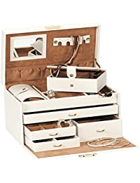 Duchess Cream Bonded Leather Jewellery Box with separate Traveller and Jewellery Roll