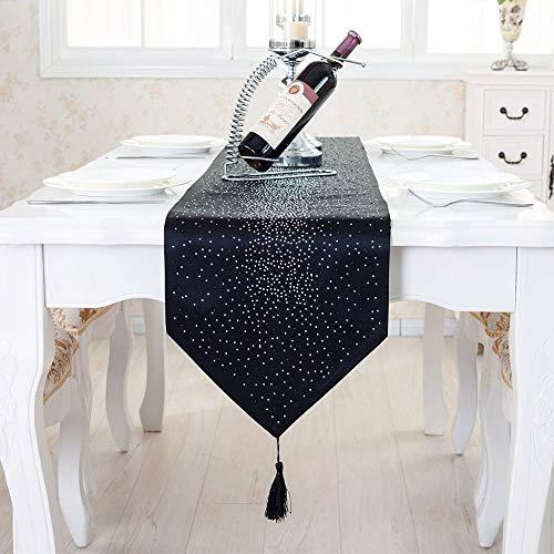 Deggodech Diamante Runner da Tavola Moderno Brillantini Strass Runner per Tavoli con Nappa Seta Damascata Tabella Bandiera Tavolo da Pranzo Decorazioni Natalizie per la Casa (Nero, 32x185cm)