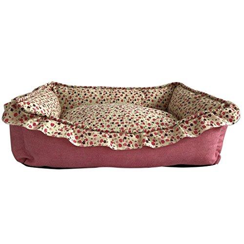 Gnaixeh Haustier Versorgung Waschbar Rechteck Süße Blume Print Hund Haustier Warmen Korb Bett Kissen (Orthopädische Versorgung)