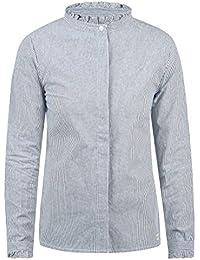 a55e9130471c Blend She Stella Damen Lange Bluse Hemdbluse Langarm mit Stehkragen und  Streifen-Muster aus 100