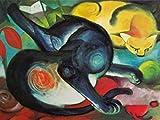 1art1 77784 Franz Marc - Zwei Katzen, Blau Und Gelb, 1912 Poster Kunstdruck 80 x 60 cm