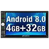 Pumpkin Android 8.0 Autoradio Moniceiver mit Navi Unsterstützt Bluetooth DAB+ WLAN 4G USB MicroSD Aux Universal 2 Din 7 Zoll Bildschirm