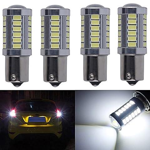 KATUR 4pcs 1156 BA15S 1141 7056 5630 33-SMD White 900 Lumens 8000K Super Bright LED Turn Tail Brake Stop Signal Light Lamp Bulb 12V 3.6W