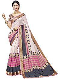 Ginigold Women's Cotton Silk Saree With Blouse Piece (Redwine4_Beige)
