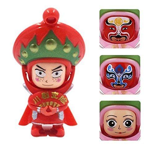 UChic 1 Stücke Changing Faces Puppen 4 Gesicht Finger Spielzeug Sichuan Oper Traditionelle Kreative Chinesische Oper Gesicht (rot)