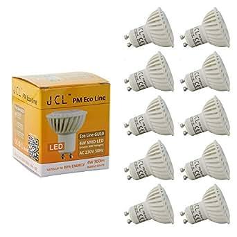 JCL PM Eco Line Ampoule LED GU10 4W | AC 230V 4W 40° 300 lm blanc chaud | Lot de 10 Ampoules