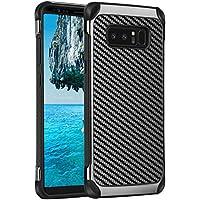 Funda Samsung Galaxy Note 8, TekG 2 en 1 Note 8 Funda de fibra de carbono con funda de caucho Funda dura para protección resistente para Galaxy Note 8 2017 (6.3 pulgadas), Negro