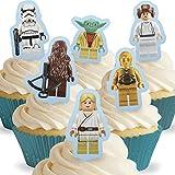 12 x Vorgeschnittene und Essbare Aufrecht Stehende Lego Star Wars Kuchen Topper (Tortenaufleger, Bedruckte Oblaten, Oblatenaufleger)