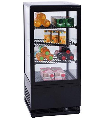 Zorro - Kühlvitrine schwarz Kuchenvitrine Gastro - 80 Liter - R600A - 4-Seitig Doppelverglast