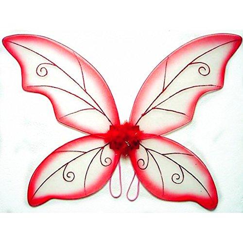 Kostüm Fee Flügel-Groß (34in) Pixie Prinzessin Kleid bis Flügel von Schönheit Collection (Erwachsene, Schwarz) rot (Pixie Fee Kostüm)