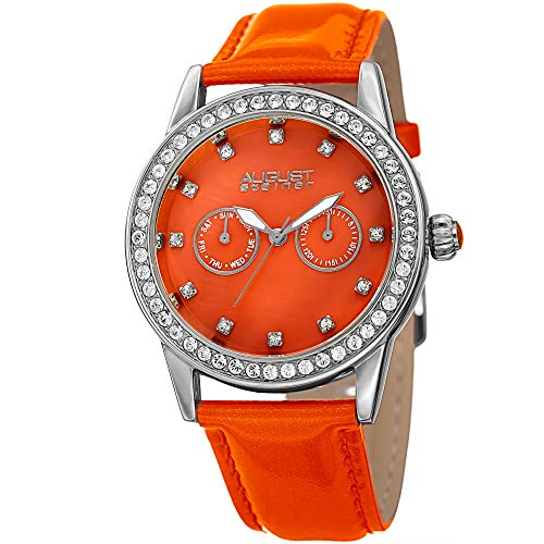 August Steiner orologio al quarzo in acciaio INOX e pelle casual da donna, colore: arancione (Model: AS8234OR)