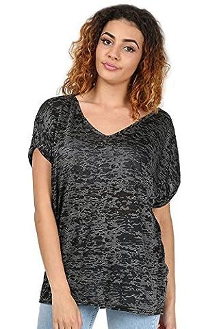 Womens Ladies Burnout V Neck Turn Up Sleeve Oversize Lagenlook Baggy T Shirt Top