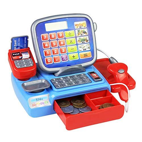 Registrierkasse mit Scanner-wiegender Skala Elektronisches pädagogisches Spielzeug Multi-Funktions-Play-Spielzeug für Kinder Echt Rechner Spielzeug