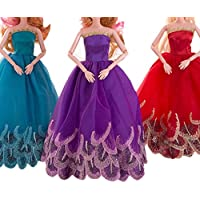 3 Pcs Clothes Party Gown Outfits For Barbie Dolls Baby Dolls Clothes, BeautyTop American Girl Doll Cute Pajamas Nightgown Clothes,Pure Wedding Dress For Barbie Doll Evening Party Clothes For Barbie Dolls
