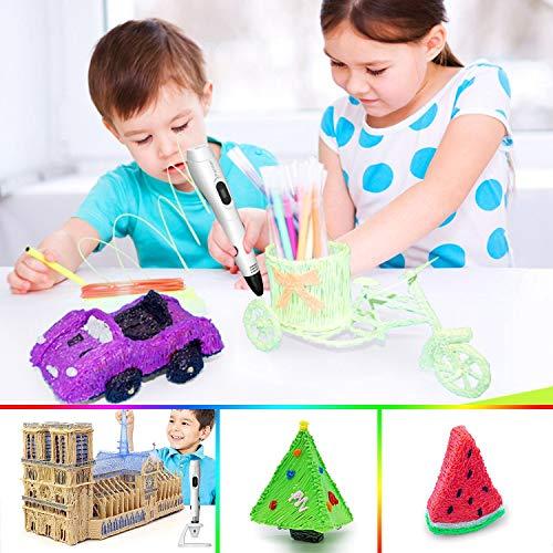 3d stifte, Parner 3D Stift mit 12 Verschiedenen PLA Farb Ersatzminen, 3D Pen für Kinder Sicher und Einfach zu Benutzen, 3D Stifte Set für Jung und Alt - 3