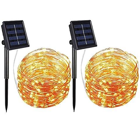 AMIR Solar Lichterkette, 33ft 100 LED Solar Lichterkette Weihnachten, Solar-Kupferdraht Lichterketten, Garten Außen Warmweiß, Solar Beleuchtung Kugel für Party, Weihnachten, Halloween, Fest Deko usw.