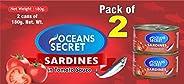 Oceans Secret Sardines in Tomato Sauce, 180g (Pack of 2)