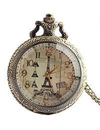 joielavie reloj de bolsillo París Torre Eiffel Patrón Números Arábigos flores grabado cuarzo calmshell Vintage aleación Collar Reloj regalo para hombres mujeres