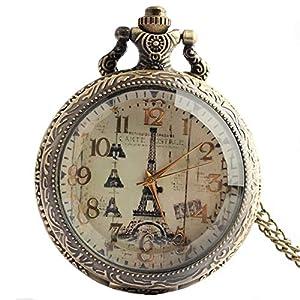 joielavie Taschenuhr Paris Eiffelturm Muster arabischen Zahlen Blume Gravur Quarzwerk Calmshell Vintage Legierung Halskette Armbanduhr Geschenk für Männer Frauen