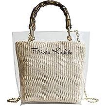 Onemoret estate piccola borsetta trasparente donne spiaggia paglia borsa  Fashion manico di bambù da donna a b0ed3efe7402