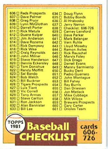 1981 Topps # 638 Checklist No. 6 -- -- Baseball Card