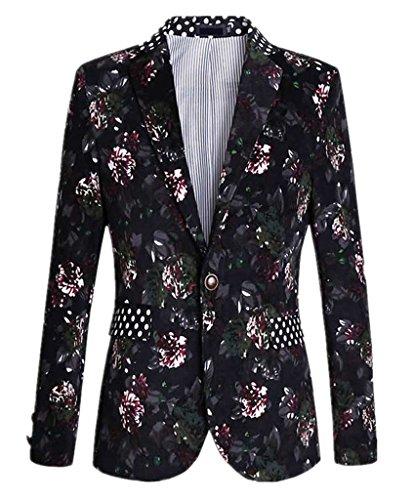 Ouye Hombres Estampado de Lunares Floral Blazer 3X-Large