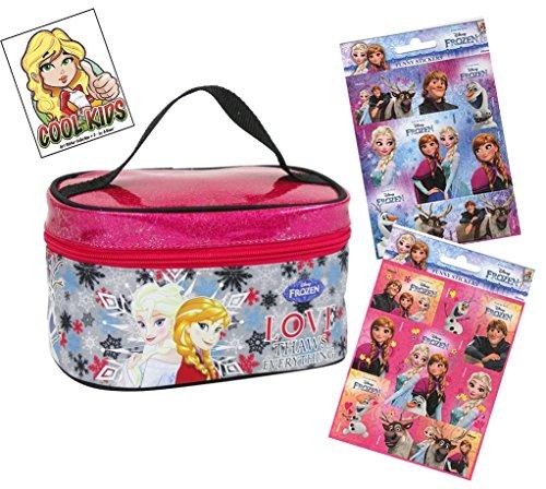 Die Eiskönigin Disney - Frozen glitzernder Kinder Beauty Bag ca. 19 cm Kosmetikkoffer / Kulturtasche / Kosmetiktasche + 16 Frozen Sticker - funkelde Glitzernde Spielzeug oder Kosmetiktasche