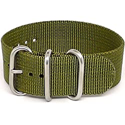 DaLuca Ballistic Nylon NATO 1 Piece Watch Strap - Olive (Matte Buckle) : 20mm