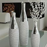 GILDE Flaschenvase Bodenvase Loona aus Keramik, 40x10,5 cm, Silber