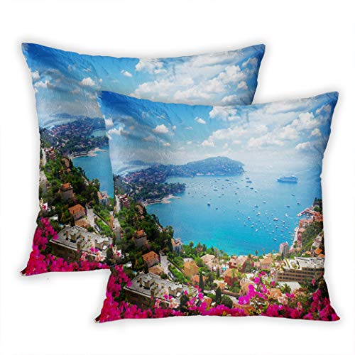 Nekkzi Cushion Covers Set of Two Print Lanscape of Riviera Coast Turquiose Water Flowers and Blue Sofa Home Decorative Throw Pillow Cover 16x16 Inch Pillowcase Hidden Zipper - Riviera Sofa