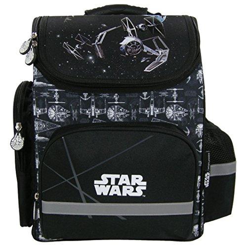 Familando Star Wars Schulranzen Set 17tlg. mit großer doppel Federmappe gefüllt 48-tlg., Regen-/Sicherheitshülle, Sporttasche, Schultüte 85cm, Dose und Trinkflasche schwarz - 2