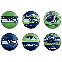 "Offizielle NFL ""Seattle Seahawks"" Button, Anstecker, Pins als 6er Set"
