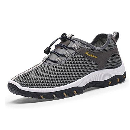 CHNHIRA Herren-Sneaker / Wanderschuhe / Turnschuhe, atmungsaktiv, weich, ultraleicht, Grau - dunkelgrau - Größe: 42 (Waterproof Boot Suede Casual)