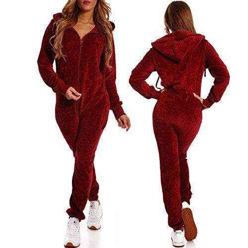 Crazy Age Damen Jumpsuit aus SAMT (Nicki, Velvet) Wohlfühlen mit Style. Elegant, Kuschelig, Weich. Overall, Ganzkörperanzug, Jogging - Freizeit Anzug, Onesie (Weinrot, M) - 3