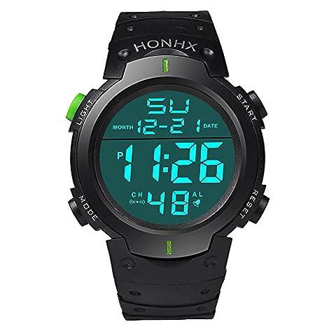 Fami-Montre Fashion Waterproof Men's Boy LCD Chronomètre numérique Date Montre bracelet en caoutchouc Sport (Vert)