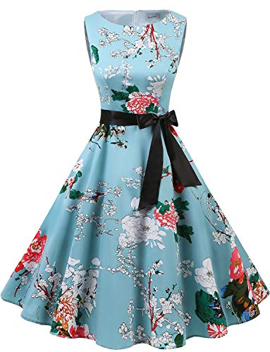 Gardenwed Damen 1950er Vintage Cocktailkleid Rockabilly Retro Schwingen Kleid Faltenrock Floral L