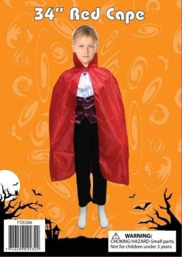 Rot oder Schwarz Kinder Kinder Cape Graf Dracula Vampire Halloween Fancy Dress Up (Kostüm Dracula Weibliche)
