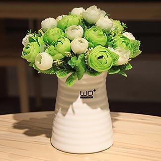 XCZHJ Flores Decorativas Artificiales Florero de cerámica de Camelia Artificial de Estilo Moderno decoración de Plantas en Maceta Verde Los Productos de Flores Incluyen:Flores Artificiales.