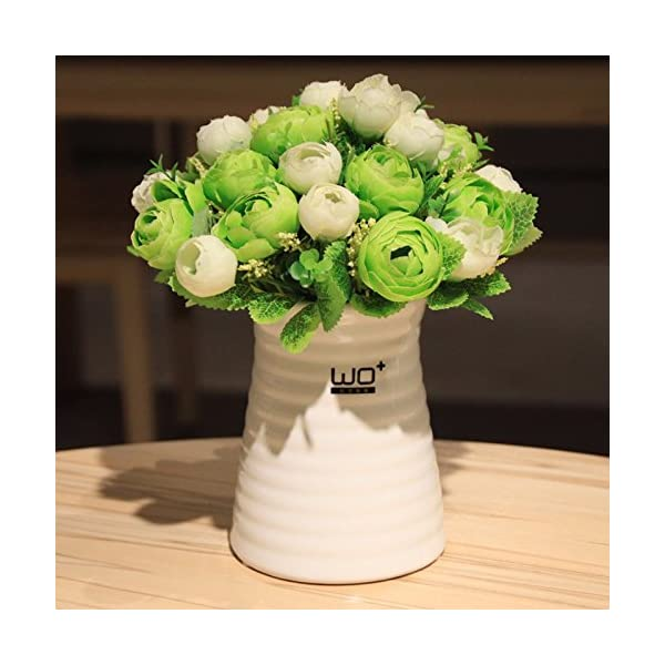 XCZHJ Flores Decorativas Artificiales Florero de cerámica de Camelia Artificial de Estilo Moderno decoración de Plantas…