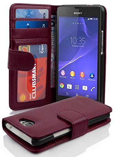 Cadorabo - Etui Housse pour Sony Xperia M2 - Coque Case Cover Bumper Portefeuille (avec fentes pour cartes) en ORCHIDÉE VIOLETS