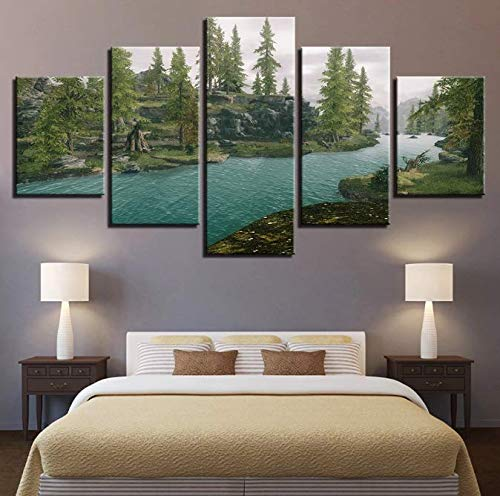 Cartel Modular Canvas Picture Artworks 5 Piezas Impreso Green Forest River Natural Landscape Painting Wall Art Decor Living Room 30 * 40 30 * 60 30 * 80Cm