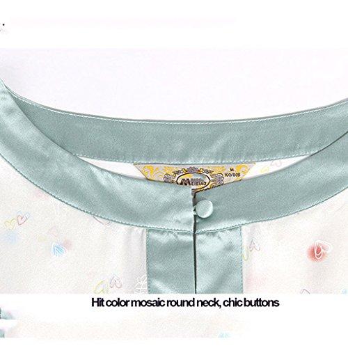 Lady seta due set di pigiama autunno e inverno pigiama a maniche lunghe primavera sciolto servizio di casa di seta ( Color : Bianca , Size : XXL ) Bianca
