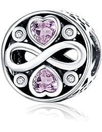 Abalorio del amor infinito, de plata de ley 925, compatible con Pandora y pulseras europeas.