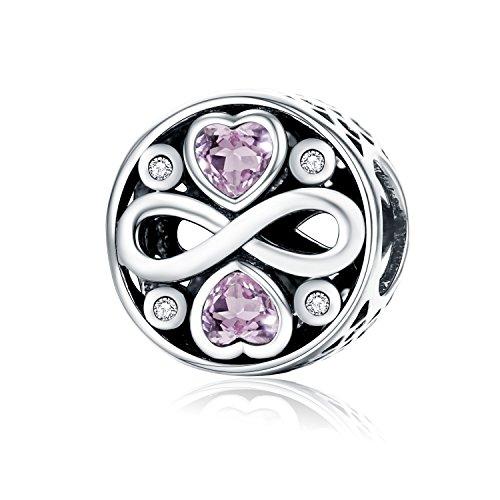 Forever-Love-Charm-Anhänger, 925erSterlingsilber, für Pandora und europäische Armbänder -