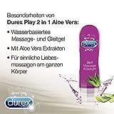 Durex Gleitgel Play 2-in-1 Massage Aloe Vera – Wasserbasiertes Gleitmittel mit pflegenden Aloeveraextrakten für sinnliche Liebesmassagen – 1 x 200 ml im Spender Vergleich