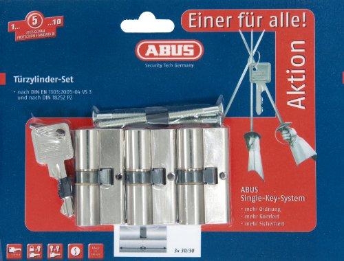 ABUS Profil-Zylinder, Triples Set-3-Stück mit 4 Schlüsseln gleichschließend