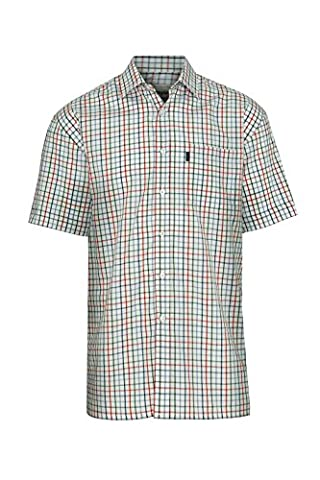 Champion Stowmarket Short Sleeve Casual Country Check Summer Shirt SS Poly Cotton Smart Holiday Shooting Hunting Sailing Beach (XL - 44