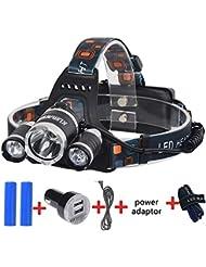 Kuman Linterna Frontal 3000 Lum Xm-l XML 3 x Cree T6 Led 30W 4 Modo de Luz, Lámpara de Cabeza para Acampar, Viajar, Senderismo, Pesca, Ciclismo y Otros Deportes al aire libre KH11